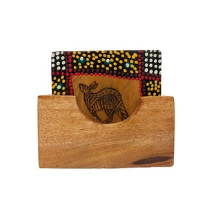 ABORIGINAL SQUARE COASTERS SET - BURNT AND DOT ART