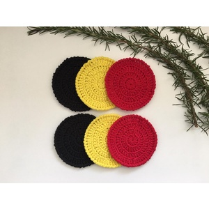 HAND MADE ABORIGINAL FLAG CROCHET COASTERS