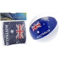 INFLATABLE AUSTRALIAN FLAG DESIGN BEACH BALL - 40CM SIZE