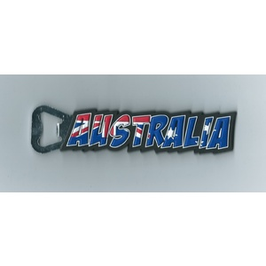 AUSTRALIA 3D WORD RUBBER BOTTLE OPENER - WITH FRIDGE MAGNET