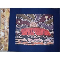 ABORIGINAL CANVAS ART PANEL - KANGAROOS & ULURU
