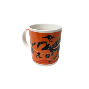 COFFEE MUG - ORANGE ABORIGINAL DESIGN