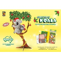 CHRISTMAS KOALA DOODAD POP-OUT 3D CONSTRUCTION POSTCARD