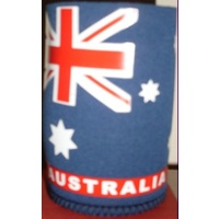 STUBBY DRINK HOLDER WITH AUSTRALIAN FLAG DESIGN - CAN COOLER