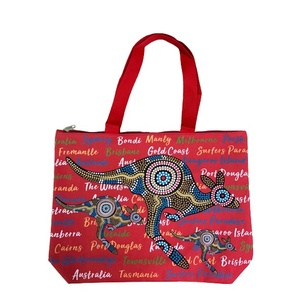 LARGE SHOPPING BAG - RED ABORIGINAL DESIGN