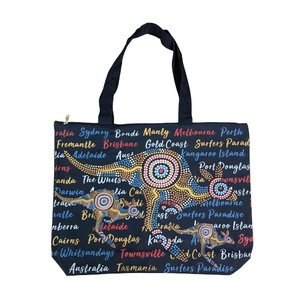 LARGE SHOPPING BAG - NAVY ABORIGINAL DESIGN