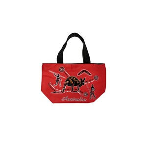 SMALL SHOPPING BAG - RED ABORIGINAL DESIGN WITH KANGAROO