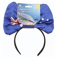AUSTRALIAN FLAG AND BOW LIGHT UP HEADBAND