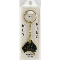 AUSTRALIAN MAP AND SOUTHERN CROSS KEY CHAIN WITH AUSTRALIAN OPAL