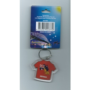 AUSTRALIAN MAP/FLAG/KANGAROOS ON T-SHIRT KEY CHAIN