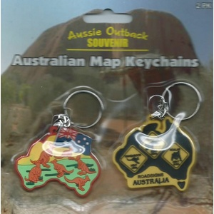 PACK OF 2 AUSTRALIAN MAP DESIGN KEY CHAINS NO. 1