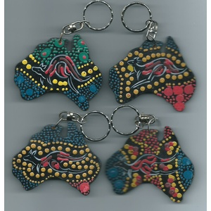 KANGAROO ABORIGINAL ART MAP DESIGN KEY CHAIN
