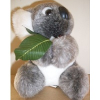 MEDIUM PLUSH KOALA WITH GUM LEAF - AUSTRALIAN MADE