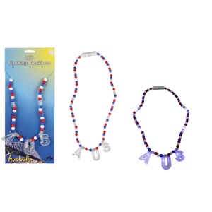 LED FLASHING NECKLACE - RED, WHITE & BLUE