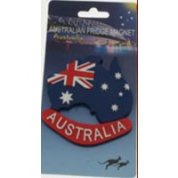 AUSTRALIAN FLAG & MAP RUBBER FRIDGE MAGNET