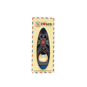 SURFBOARD BOTTLE OPENER MAGNET - ABORIGINAL DESIGN