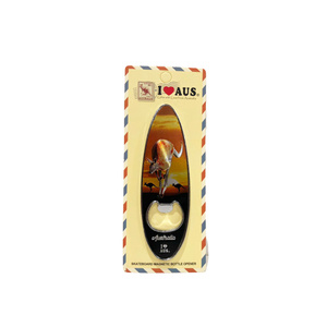SURFBOARD BOTTLE OPENER MAGNET - SUNSET KANGAROOS