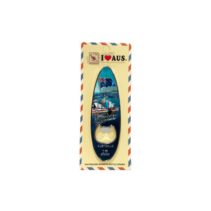 SURFBOARD BOTTLE OPENER MAGNET - SYDNEY HARBOUR