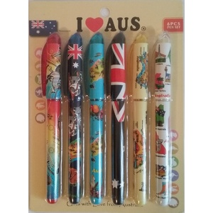 PACK OF 6 AUSTRALIAN ICONS DESIGN SOUVENIR PENS