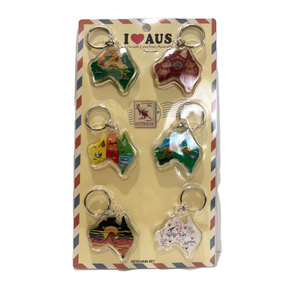 AUSTRALIANA KEYRING ASSORTED (PACK OF 6)