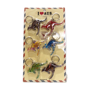 KANGAROO KEYRINGS WITH ABORIGINAL ART (PACK OF 6)
