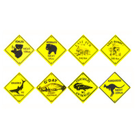 10 ASSORTED ROAD SIGN FRIDGE MAGNETS