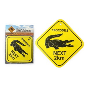 'CROCODILE NEXT 2 KM' LARGE METAL ROAD SIGN