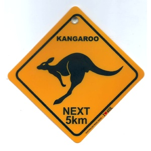'KANGAROOS NEXT 5KM' SMALL PLASTIC ROAD SIGN