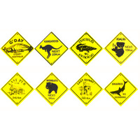 10 ASSORTED ROAD SIGN SOUVENIR STICKERS