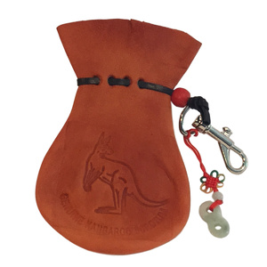AUSSIE KANGAROO SCROTUM COIN POUCH WITH LUCKY FIGURE 8 & KEYCHAIN