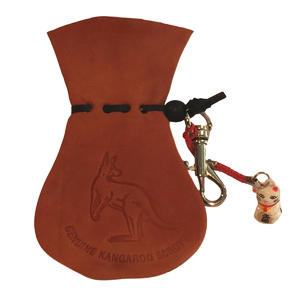 AUSSIE KANGAROO SCROTUM COIN POUCH WITH LUCKY CAT & KEYCHAIN