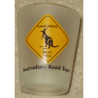 'KANGAROOS NEXT 10KM' AUSTRALIAN ROADSIGN SHOT GLASS