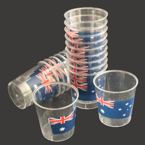 AUSTRALIAN FLAG DESIGN PLASTIC SHOT GLASSES - 20 PACK