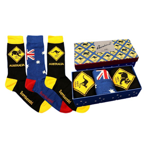 3 PAIRS SOCKS GIFT BOX - ROADSIGN & AUSSIE FLAG DESIGN - BAMBOOZLD