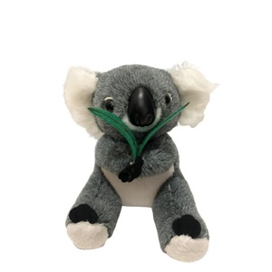 SOFT MATERIAL KOALA WITH EUCALYPTUS LEAF 18CM