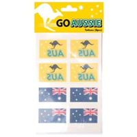 AUS GREEN AND GOLD AND AUSTRALIAN FLAG TATTOOS - PACK OF 8