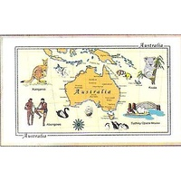 YELLOW AUSTRALIAN MAP DESIGN KITCHEN (TEA) TOWEL