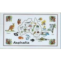WHITE AUSTRALIAN MAP DESIGN KITCHEN (TEA) TOWEL NO. 1