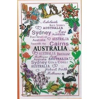 AUSTRALIAN PLACE NAMES AND FLOWERS DESIGN TEA TOWEL