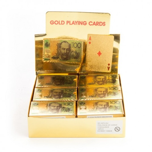 GOLD FOIL AUSSIE 100 DOLLAR PLAYING CARDS PACK