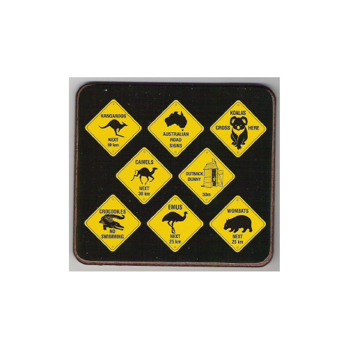 AUSTRALIAN ROAD SIGNS DESIGN COASTER SET NO. 1