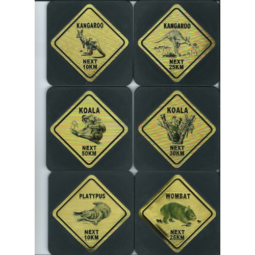 AUSTRALIAN ROAD SIGNS DESIGN COASTER SET NO. 3