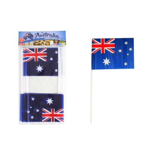 PACK OF 10 SMALL AUSSIE FLAGS ON PLASTIC STICKS (HAND WAVERS)