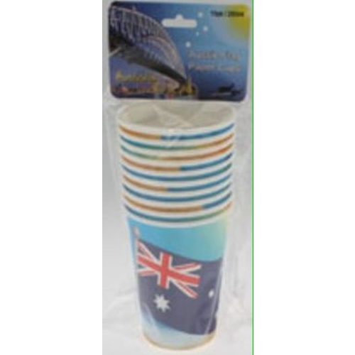 PACK OF 10 AUSTRALIAN FLAG DESIGN PAPER CUPS