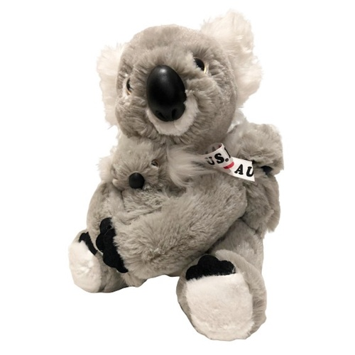 FLUFFY KOALA WITH TWO BABIES AND RIBBON 25CM