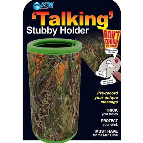 'TALKING' STUBBY HOLDER - PRE-RECORD YOUR UNIQUE MESSAGE