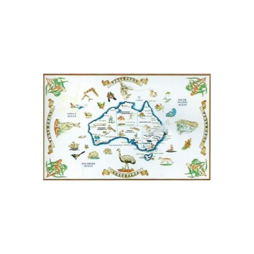 WHITE AUSTRALIAN MAP DESIGN KITCHEN (TEA) TOWEL NO. 2