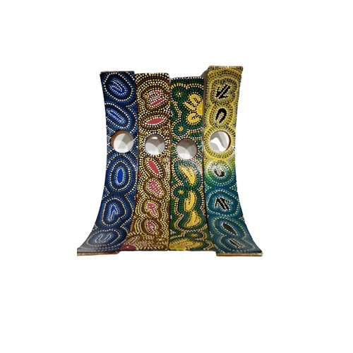WOODEN CURVED WINE BOTTLE HOLDER - ABORIGINAL DOT ART